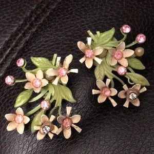 Vintage Beau Jewel Signed Rhinestone Earrings
